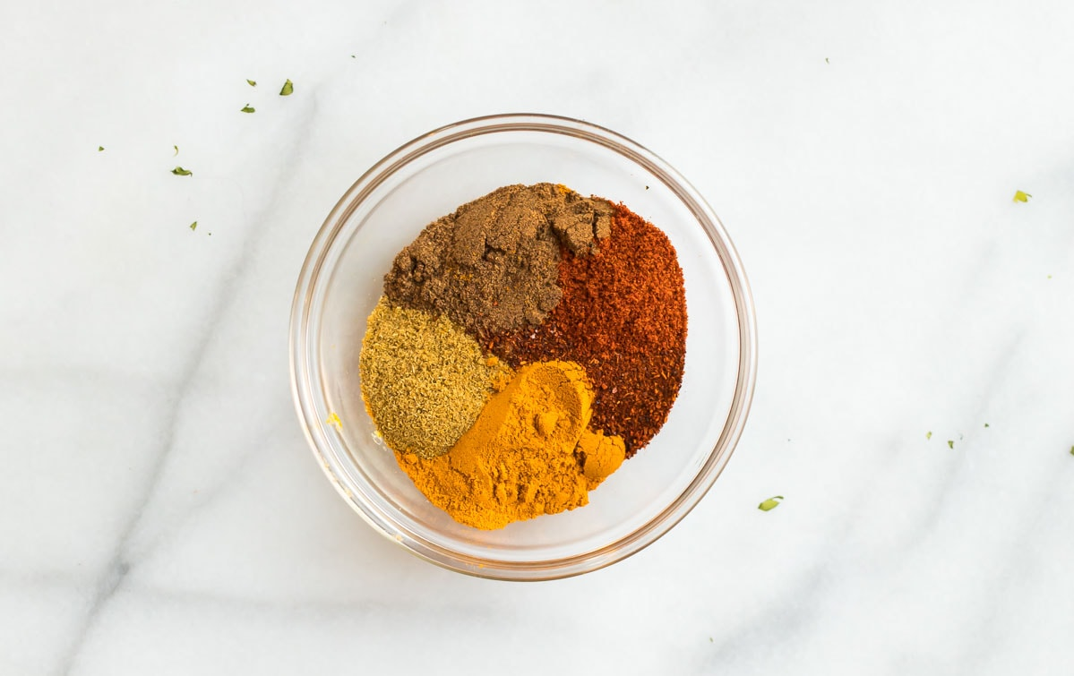 A bowl of spices for an Indian recipe