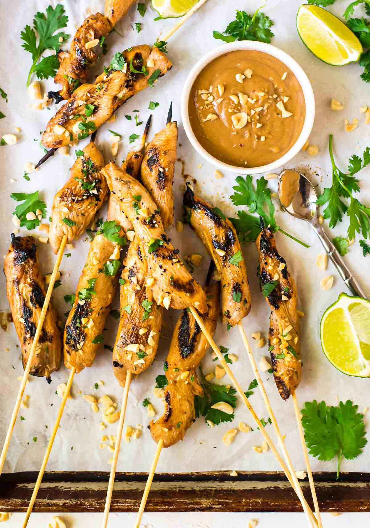 Grilled chicken skewers with dipping sauce