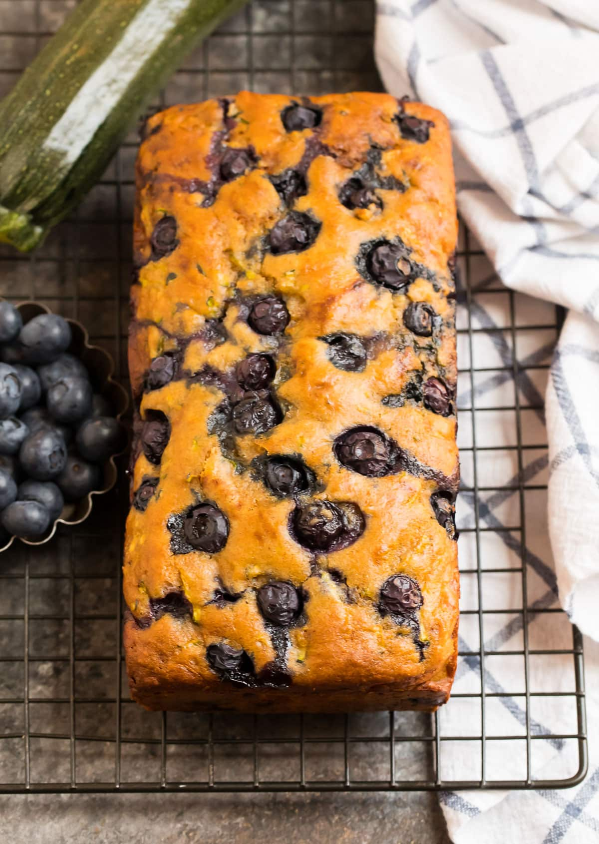 A loaf of blueberry zucchini bread