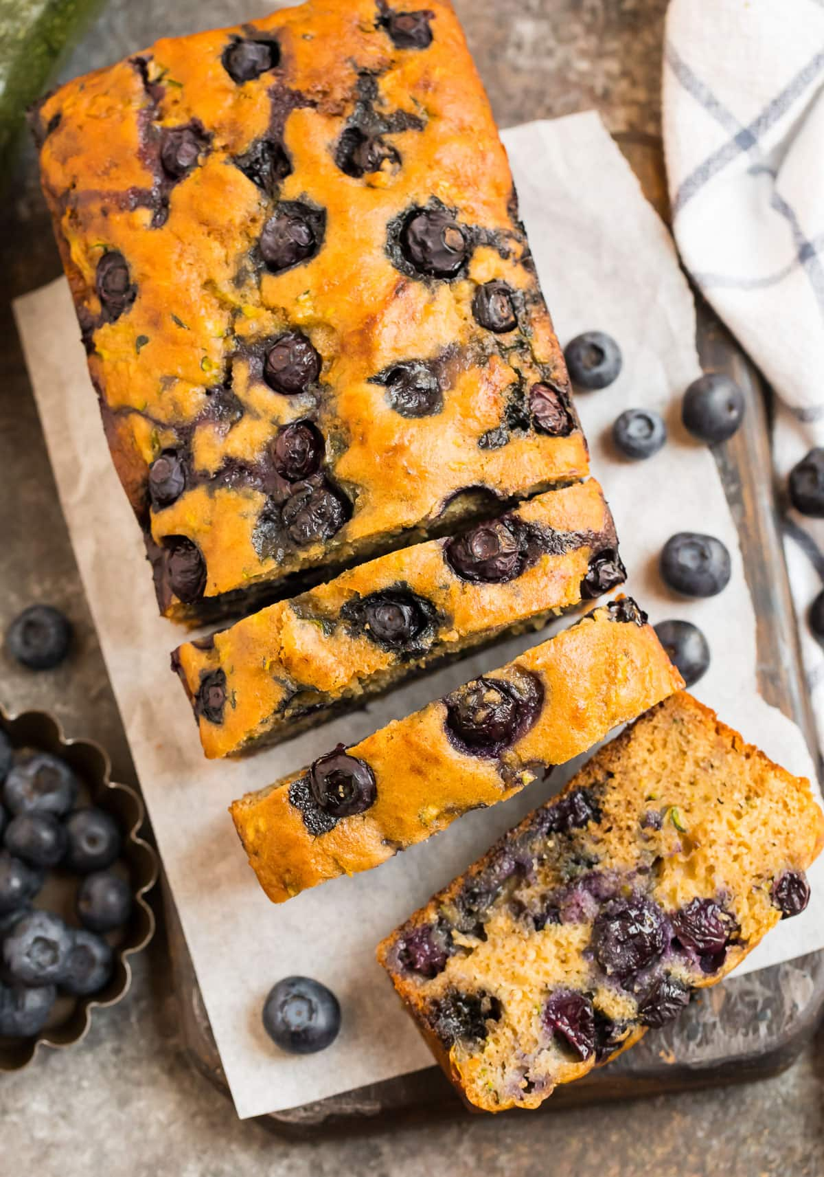 Zucchini bread with blueberries