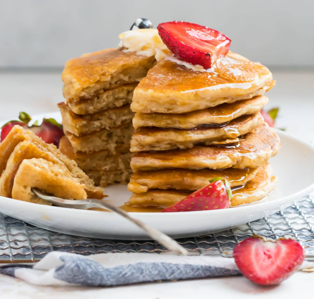 A stack of healthy oatmeal pancakes