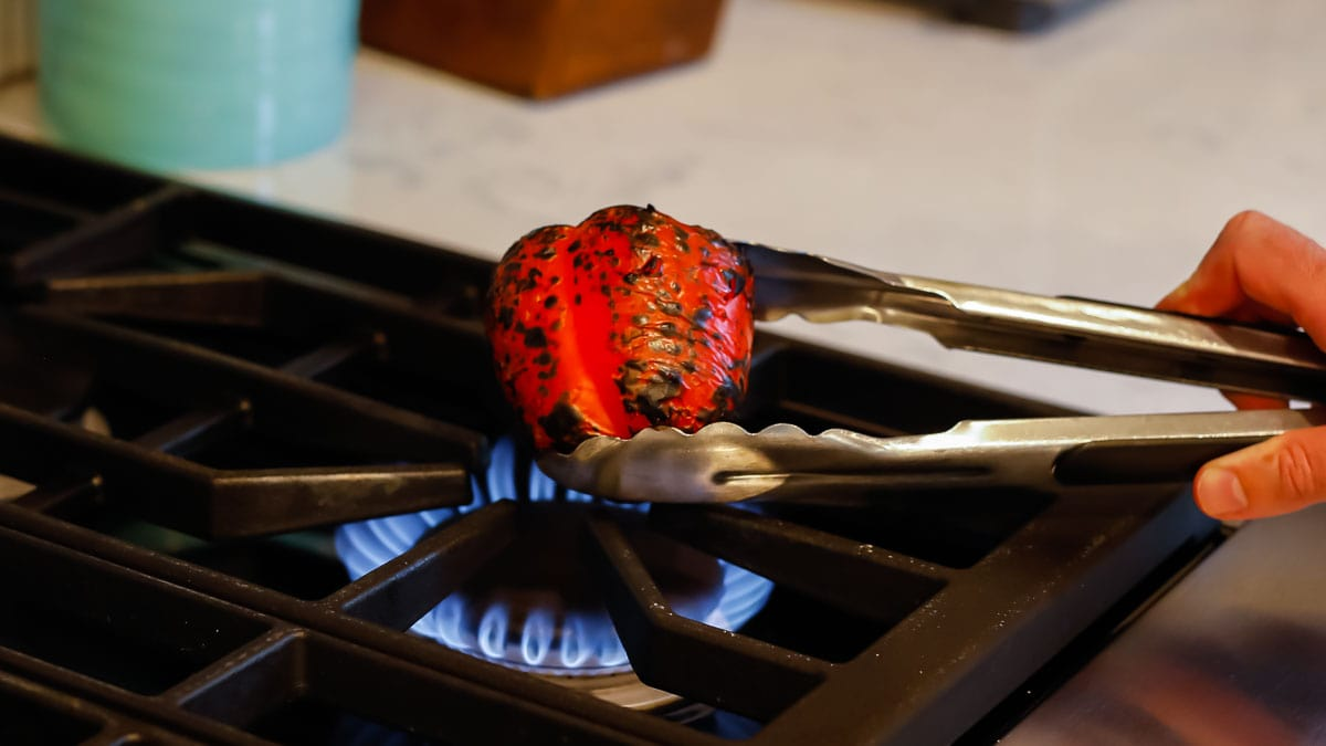 Roasted Red Peppers on a gas stove