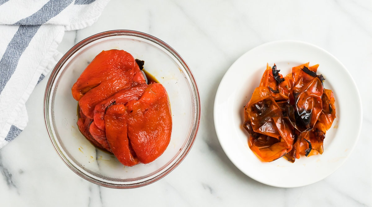 Roasted red peppers with the skins removed