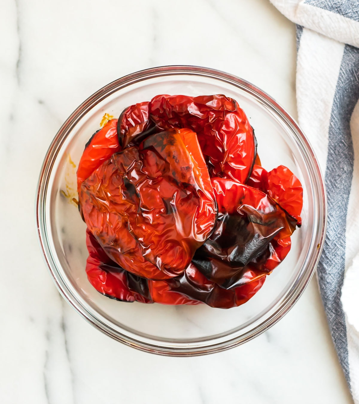 Easy roasted red peppers in a glass jar