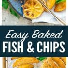 titled photo collage - Easy Baked Fish and Chips