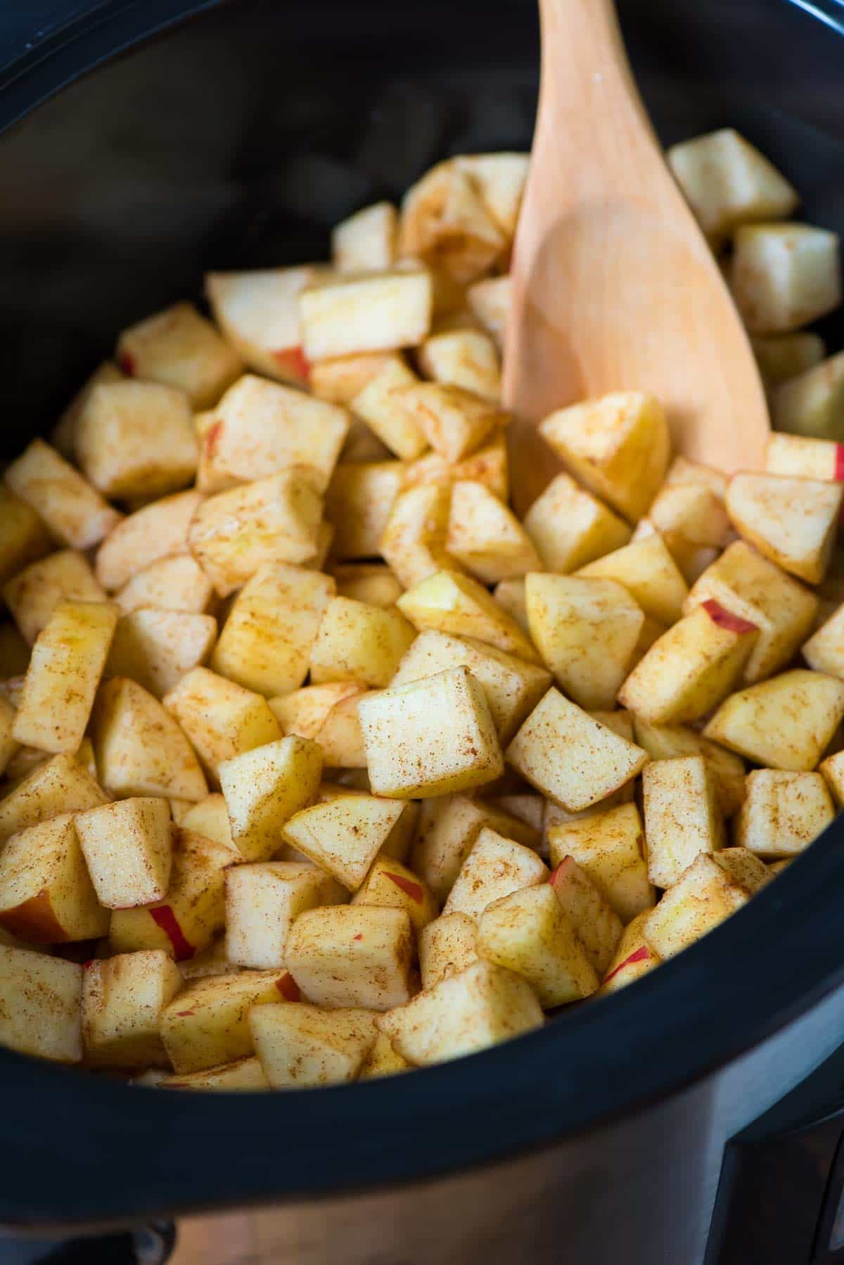 Diced apples in a slow cooker