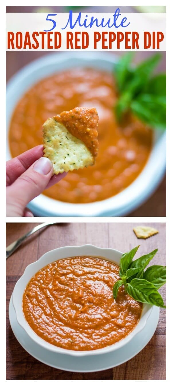 5 Minute Roasted Red Pepper Parmesan Dip // Well-Plated