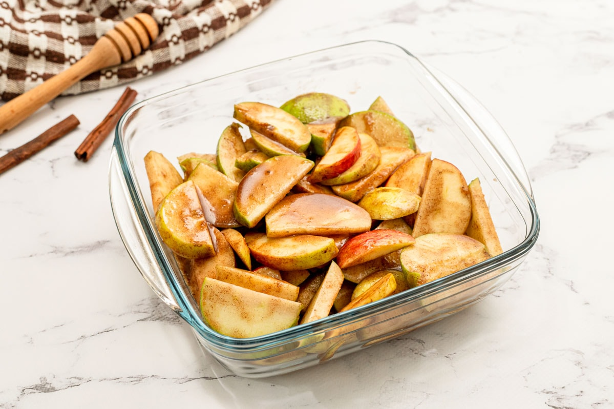 Cut apples in a glass baking dish
