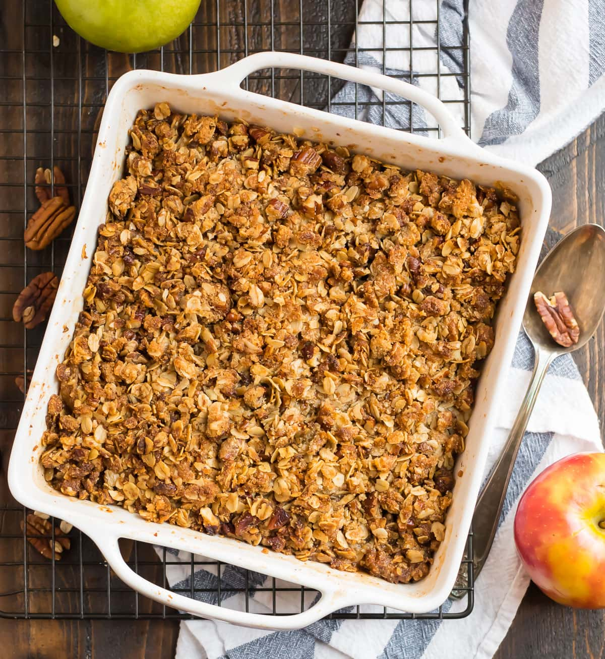 Gluten free apple crisp in a baking dish