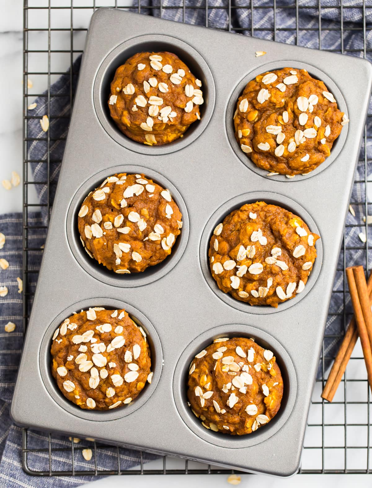 Healthy pumpkin muffins with oats on top