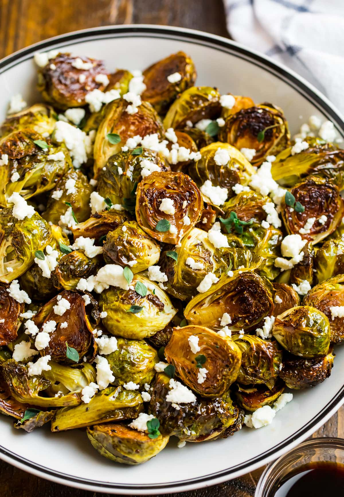 Easy balsamic Brussels sprouts in a bowl