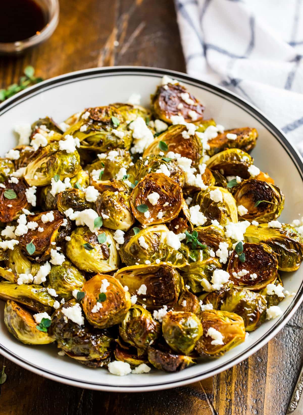 A bowl of balsamic Brussels sprouts