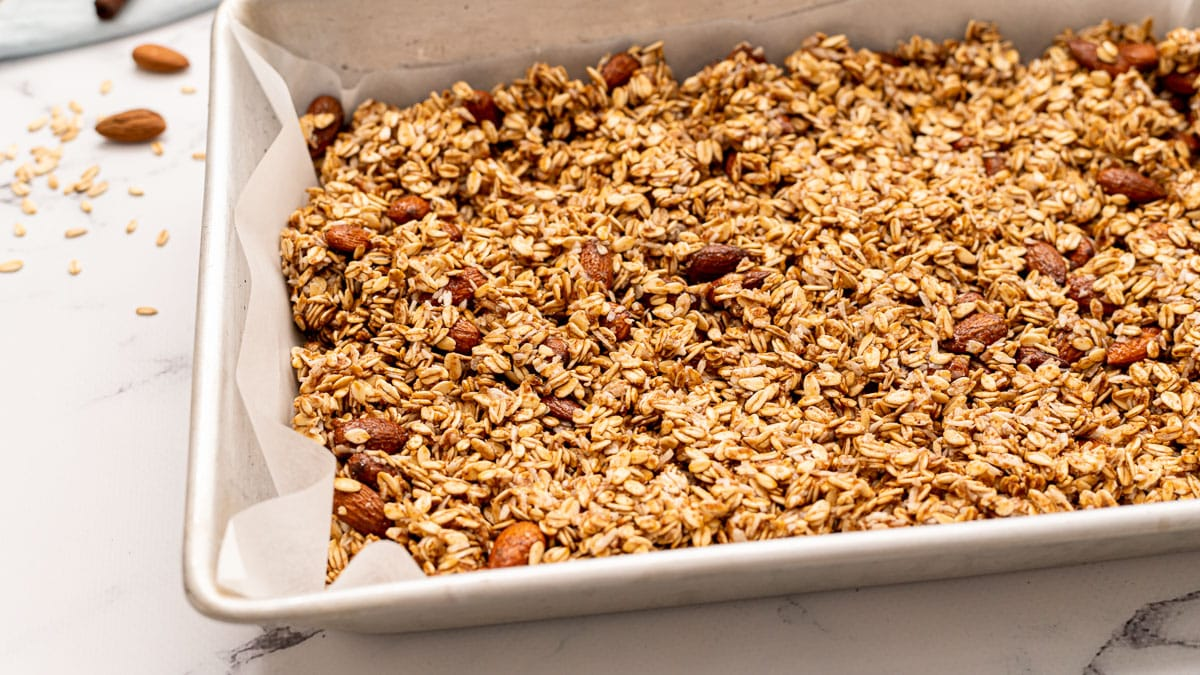 A pan of baked healthy granola