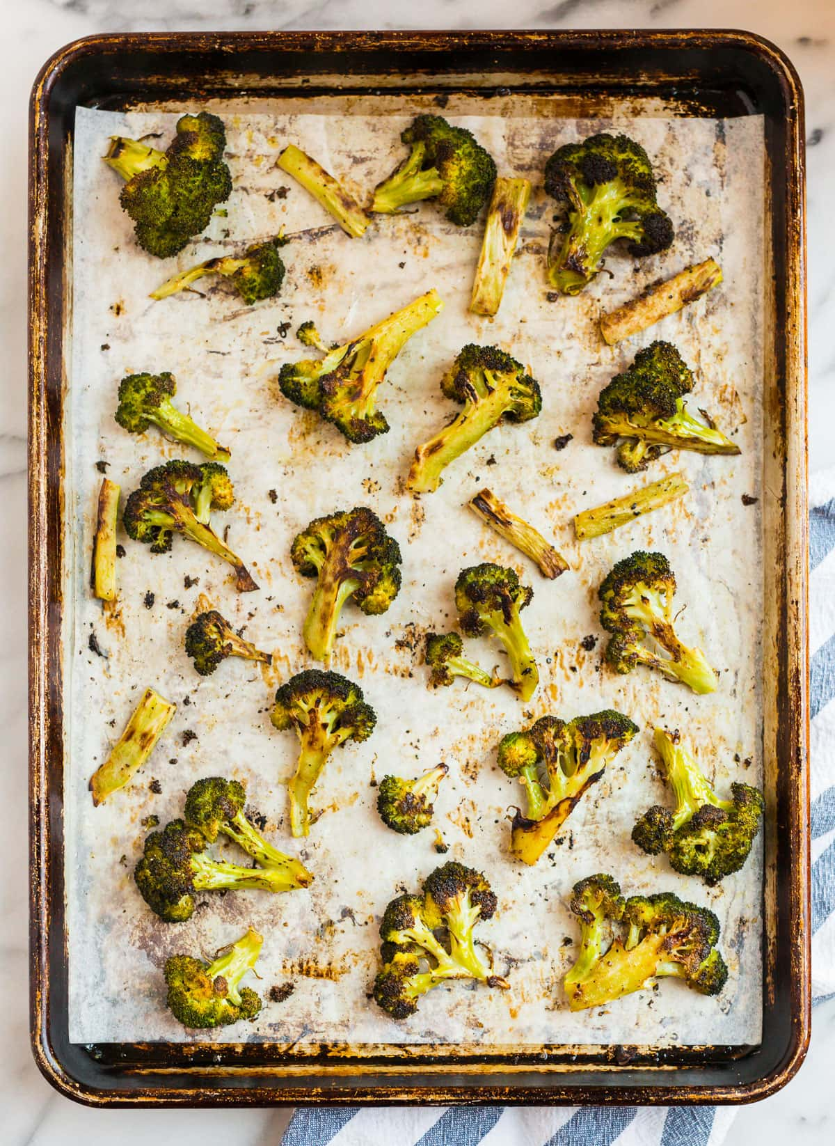 Roasted vegetables on a sheet pan