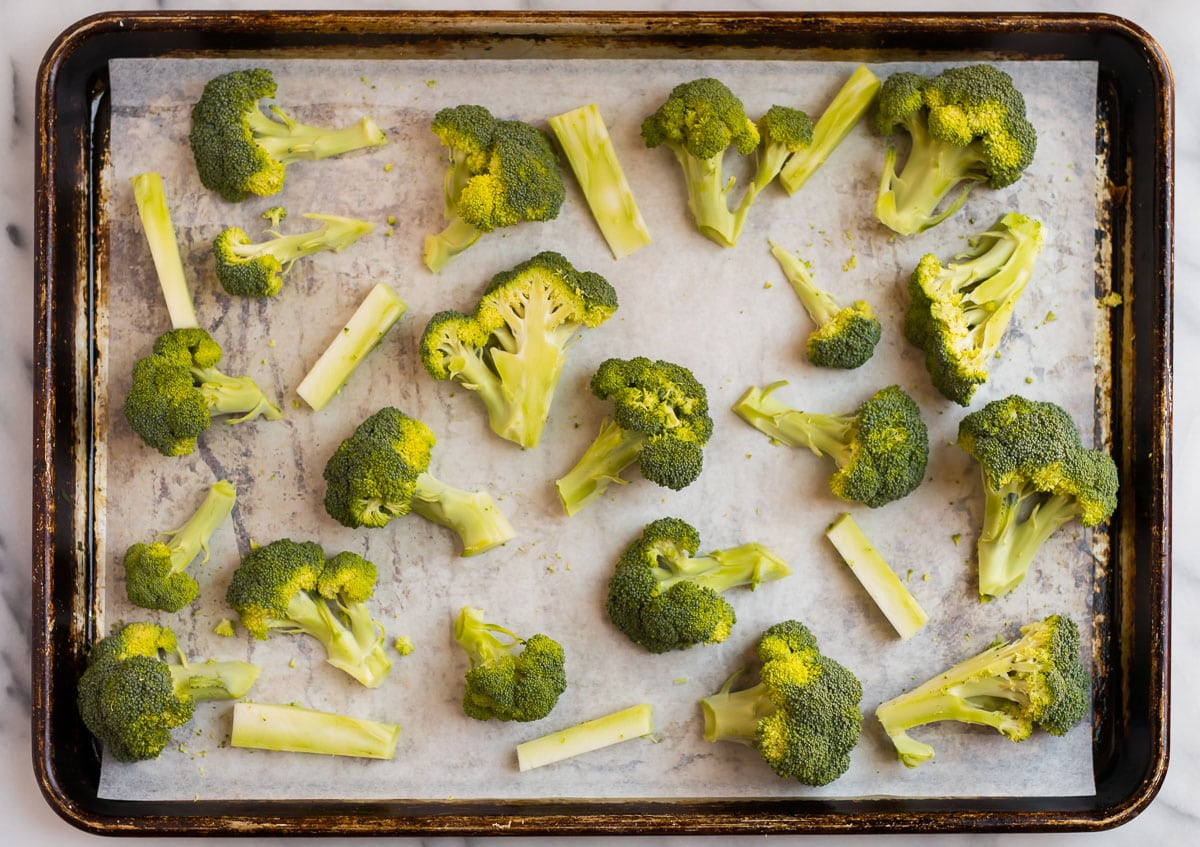 Raw vegetables on a sheet pan