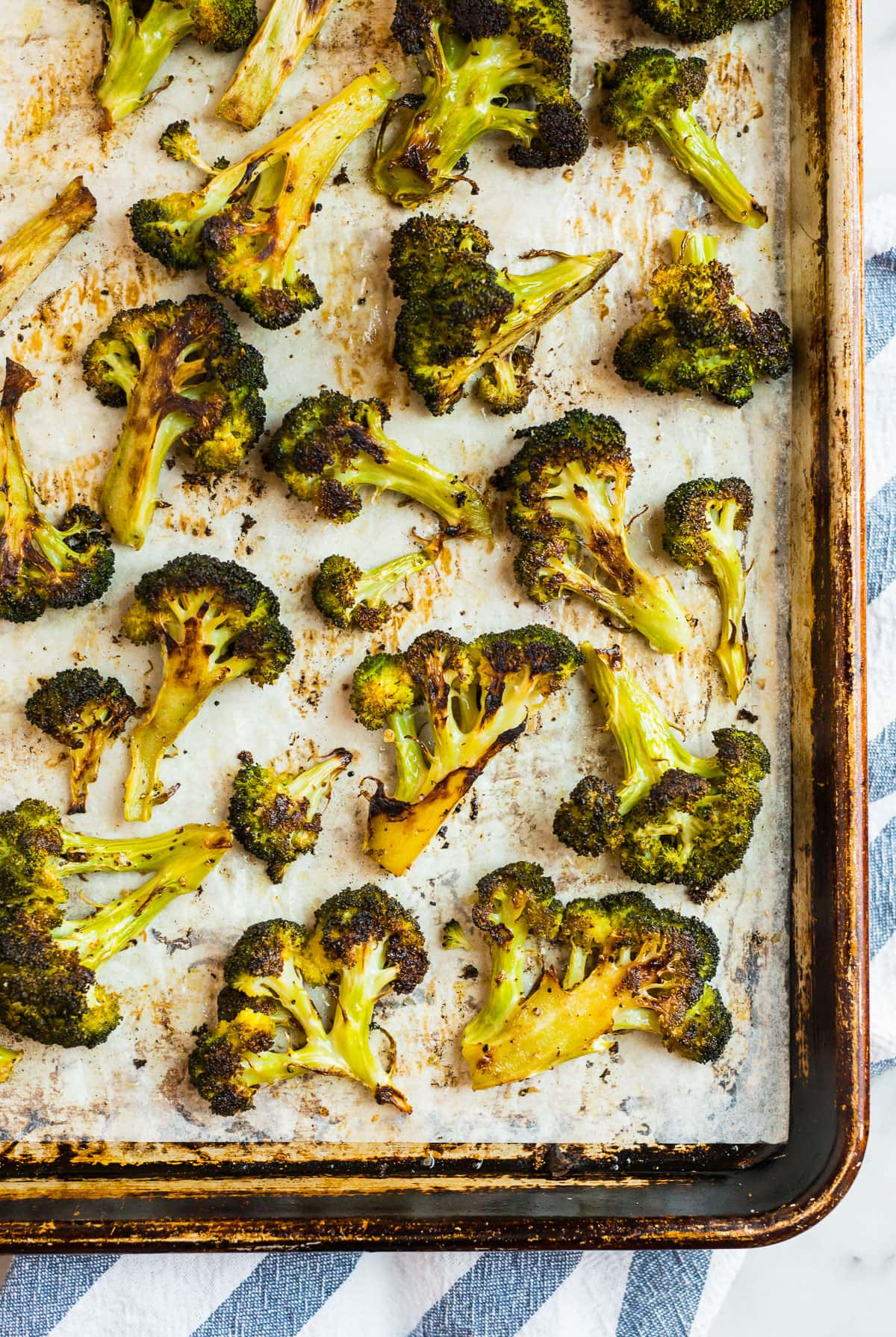 Roasted broccoli on a sheet pan
