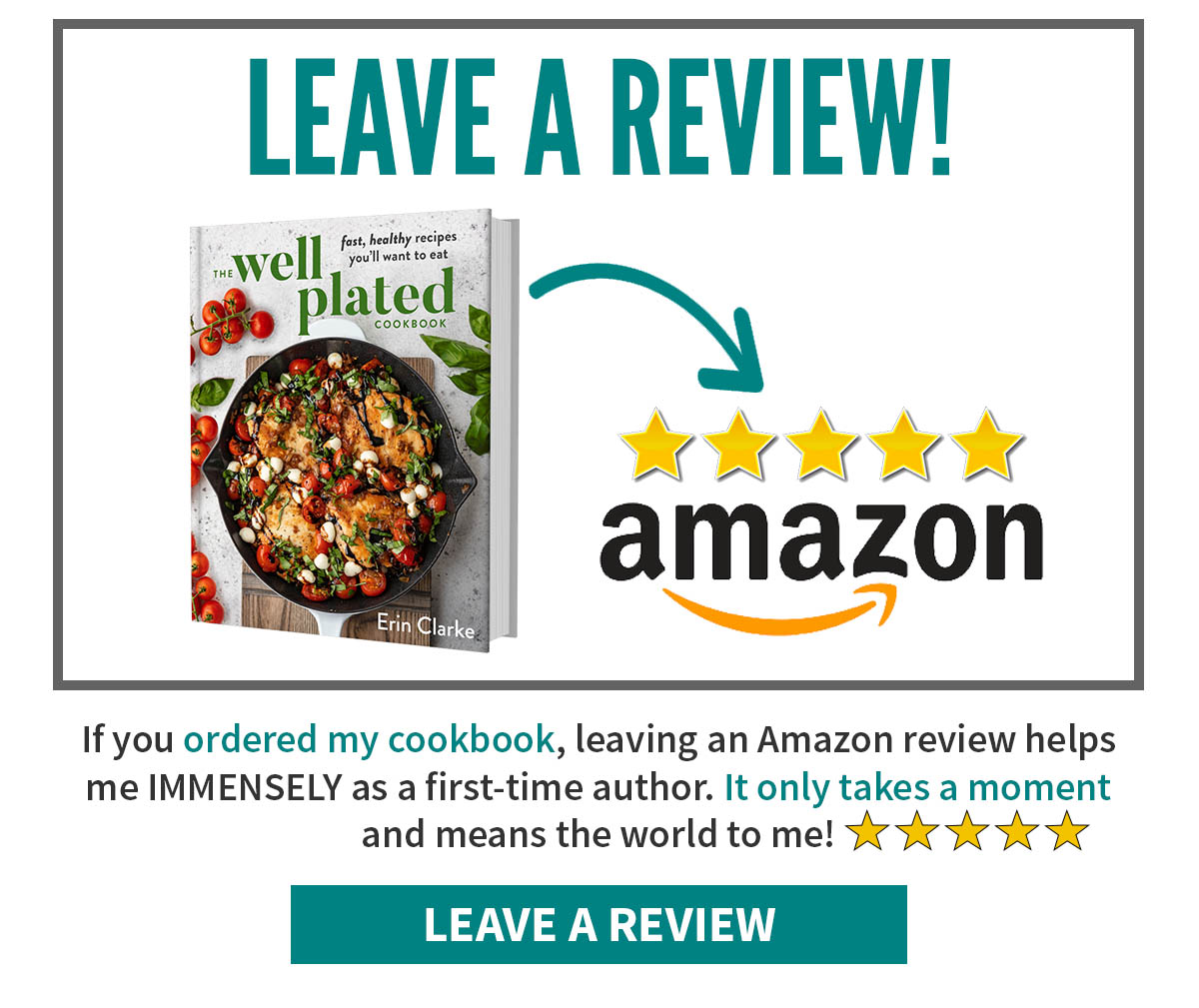 Request to leave a review for the Well Plated Cookbook