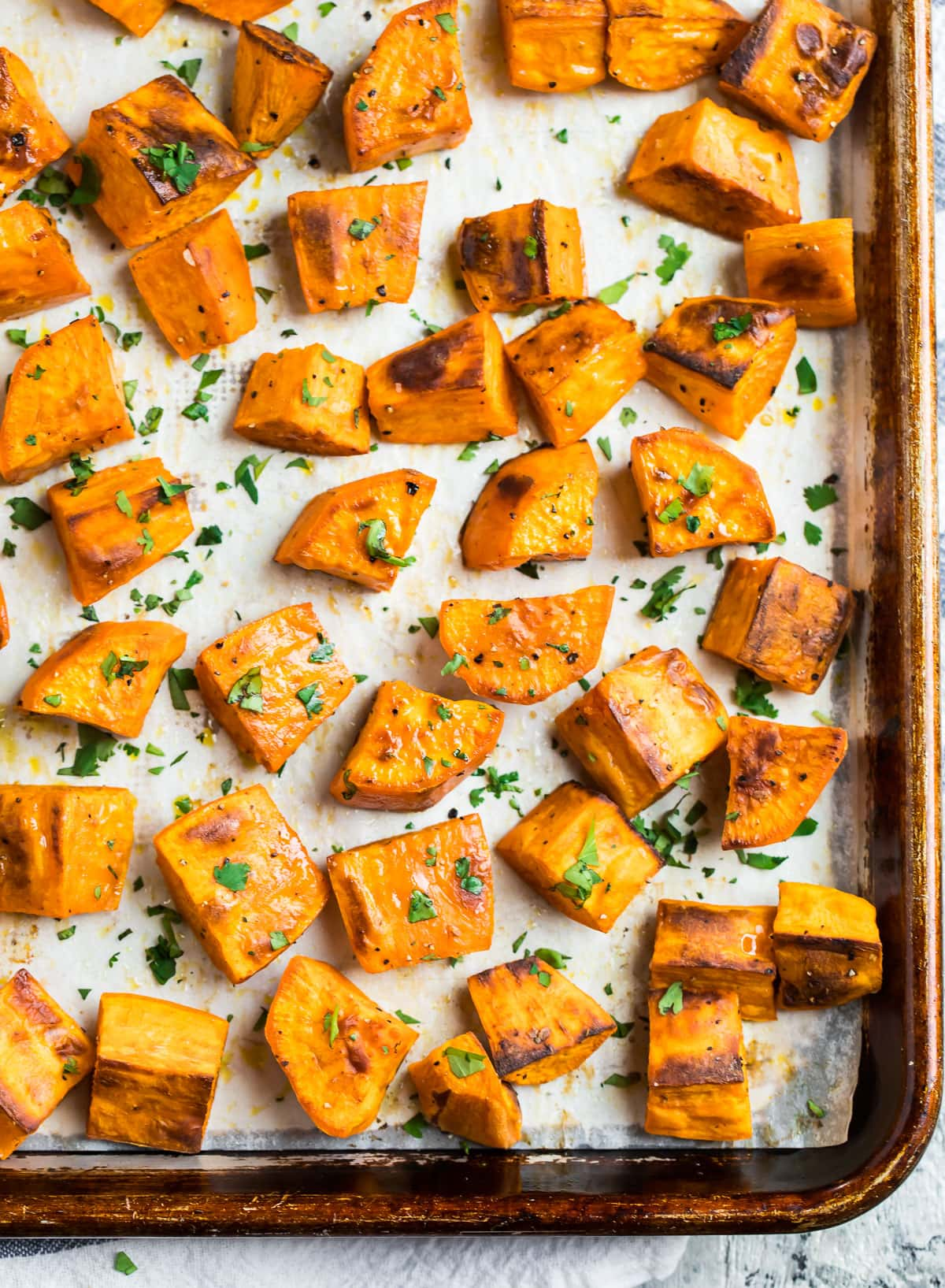 Pieces of roasted sweet potatoes