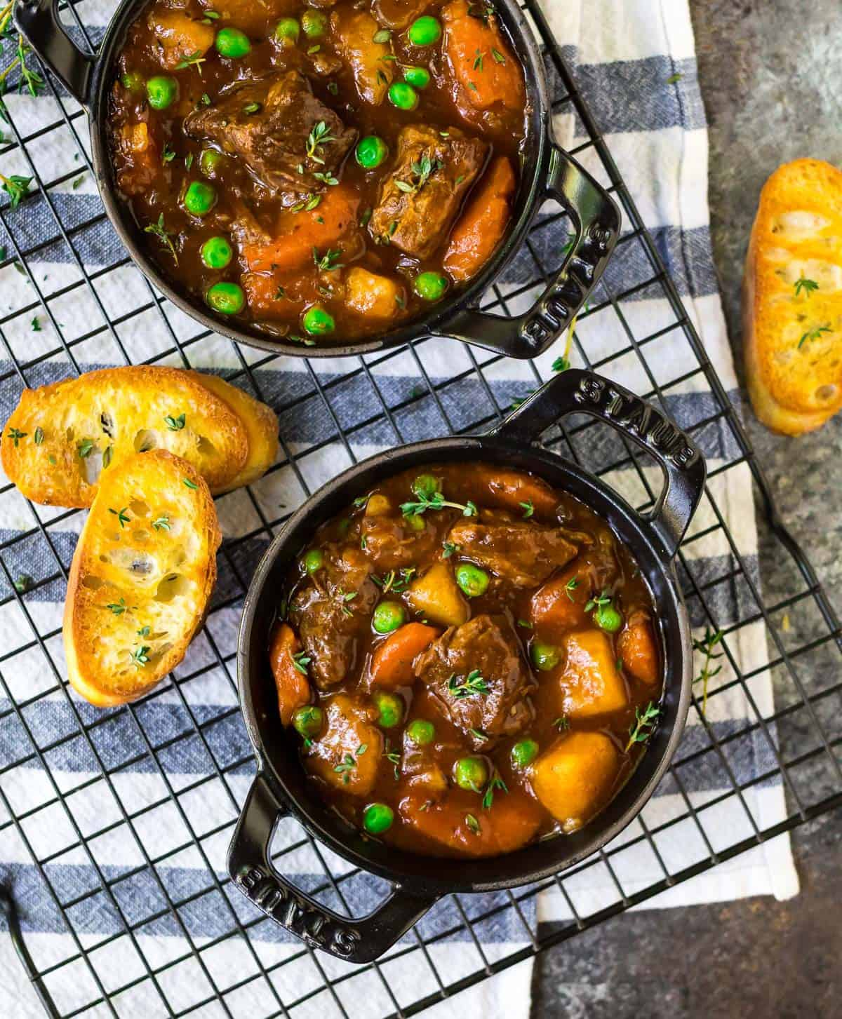 Two bowls of Instant Pot beef stew