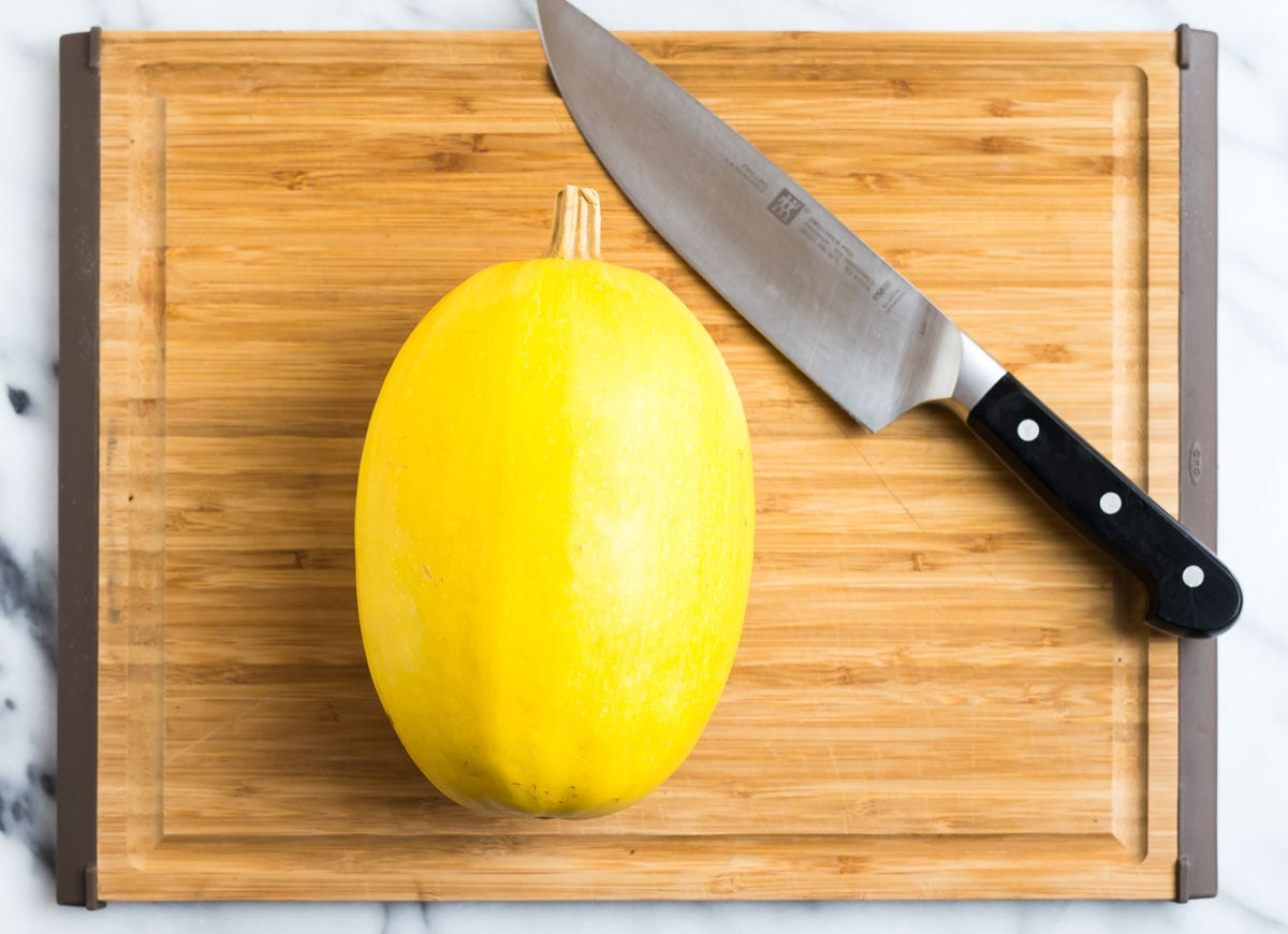 Spaghetti squash on a cutting board