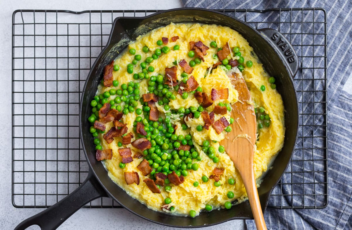 Spaghetti squash, peas, and bacon