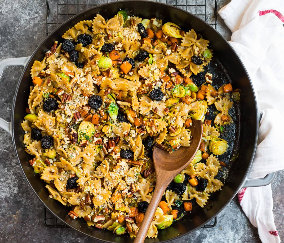 Brown butter Brussels sprouts pasta in a skillet