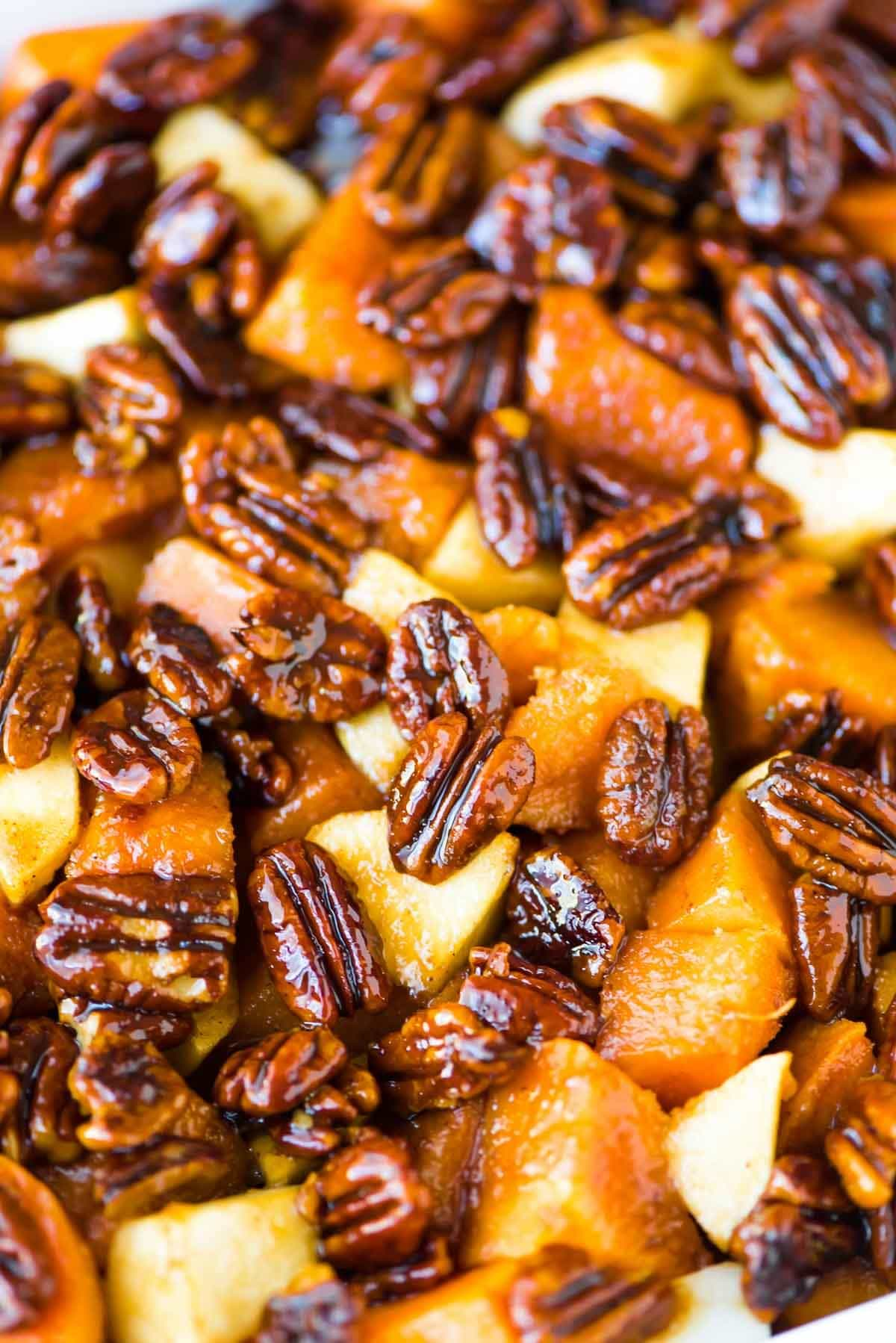 Glazed sweet potatoes with pecans