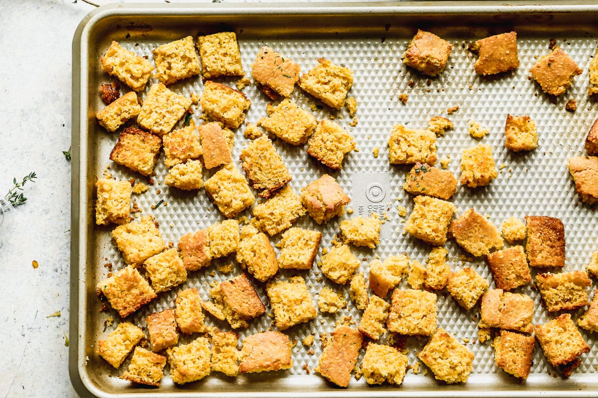 Cornbread cubes for stuffing