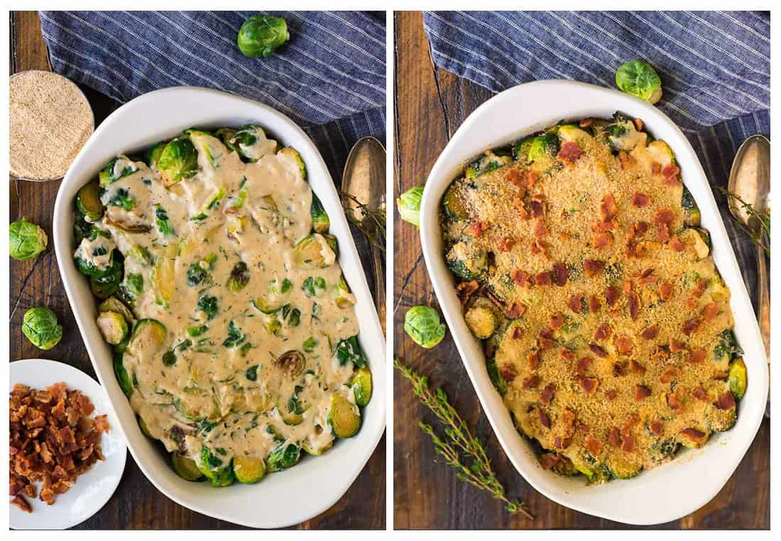 Process of making Brussels sprouts gratin