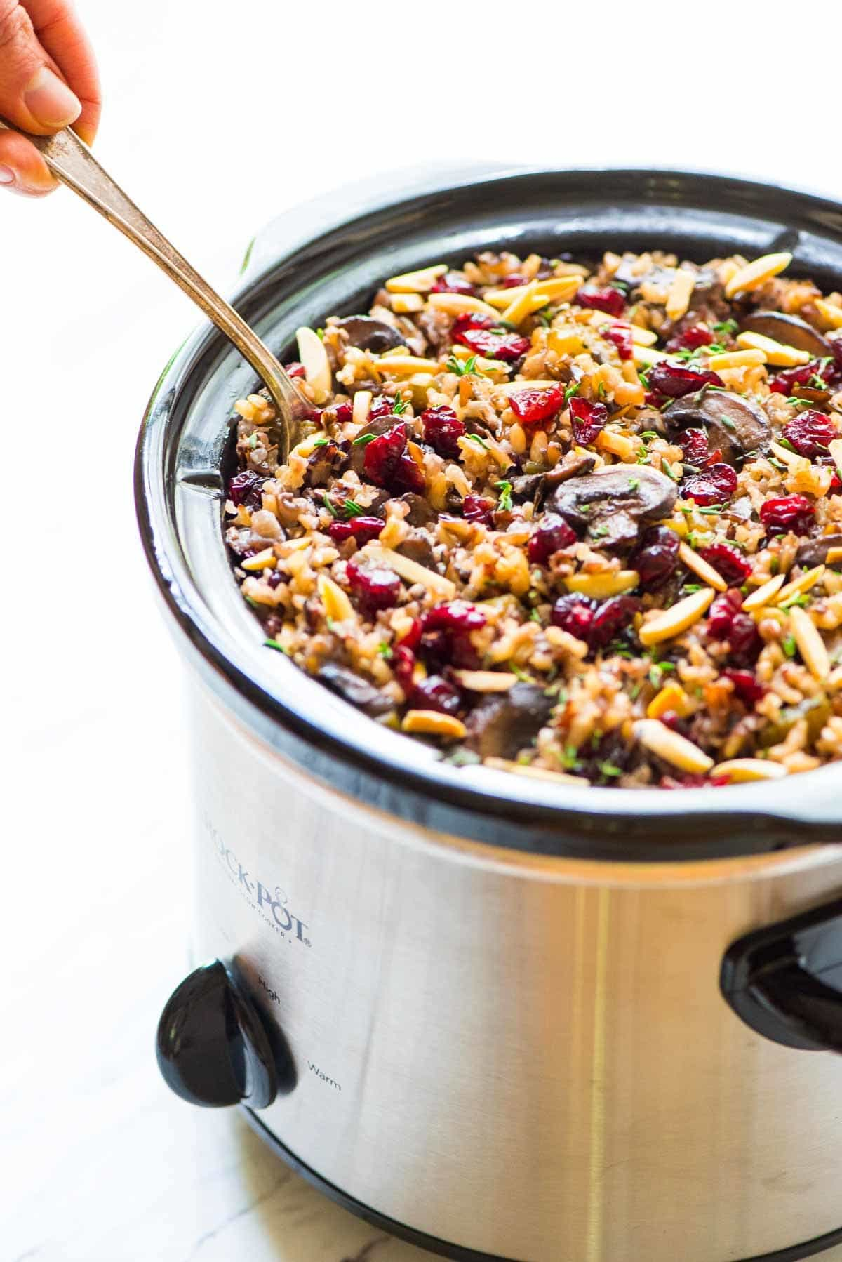 Crockpot wild rice stuffing with mushrooms