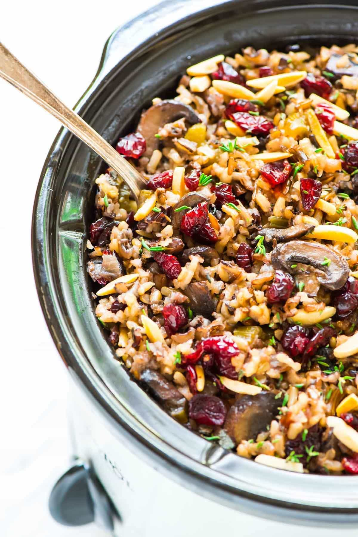 Wild rice stuffing in a slow cooker