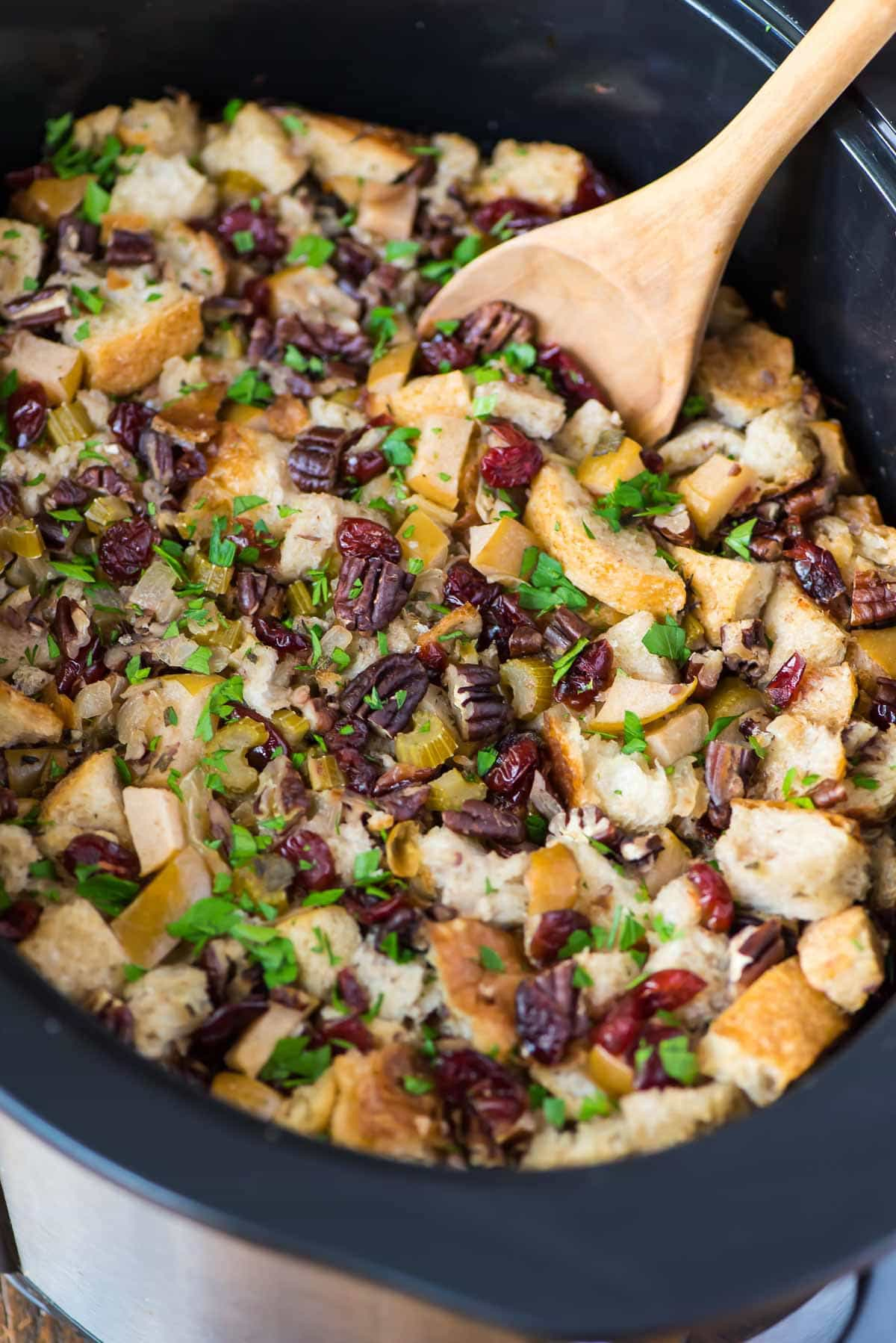 Crock pot stuffing with cranberries