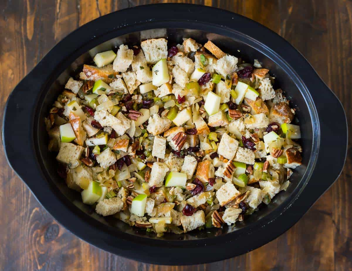 uncooked holiday stuffing in a slow cooker
