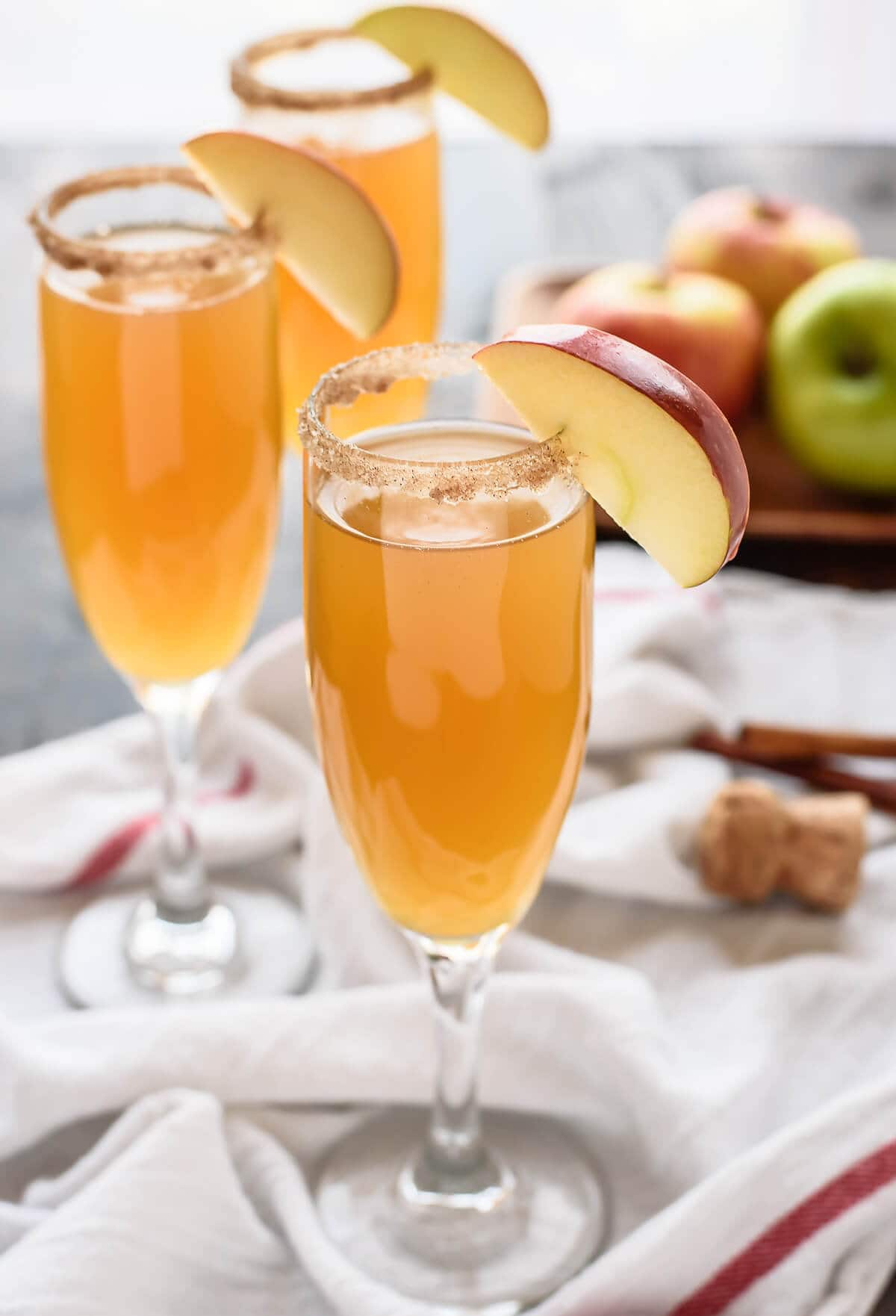 Apple cider mimosas with brandy
