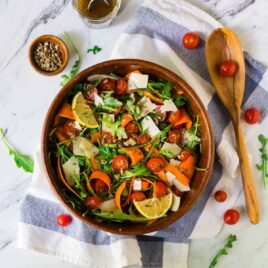 Simple and Perfect Arugula Salad with Lemon Balsamic Dressing and Parmesan. Easy and so flavorful! This healthy side dish goes with any meal and comes together in minutes.