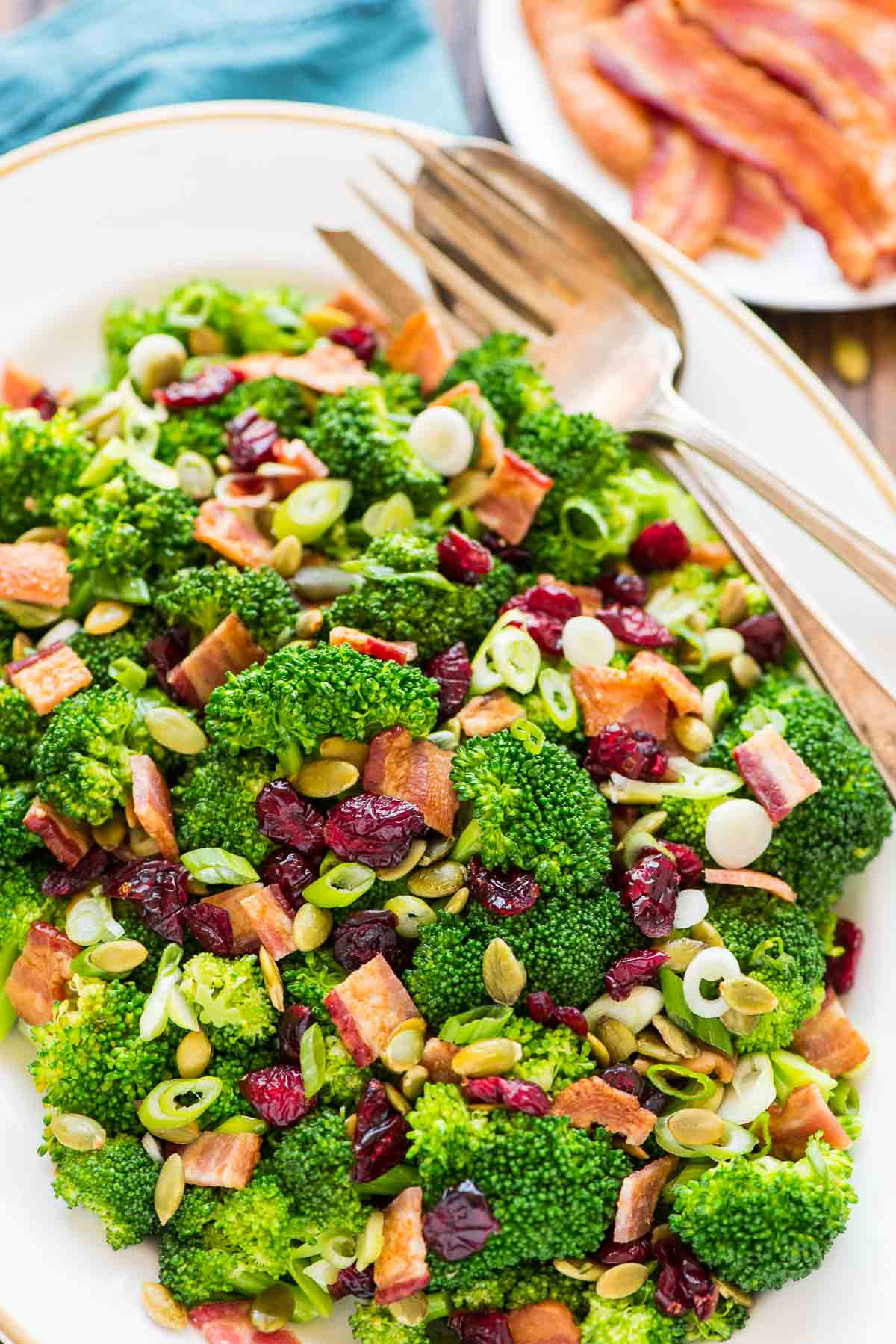 Healthy broccoli cranberry salad with bacon