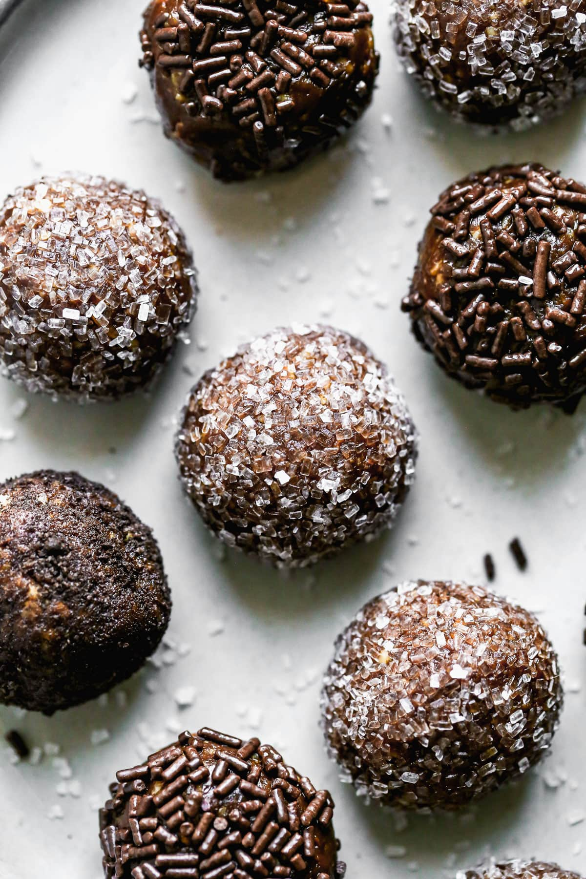 Bourbon balls with chocolate and sugar