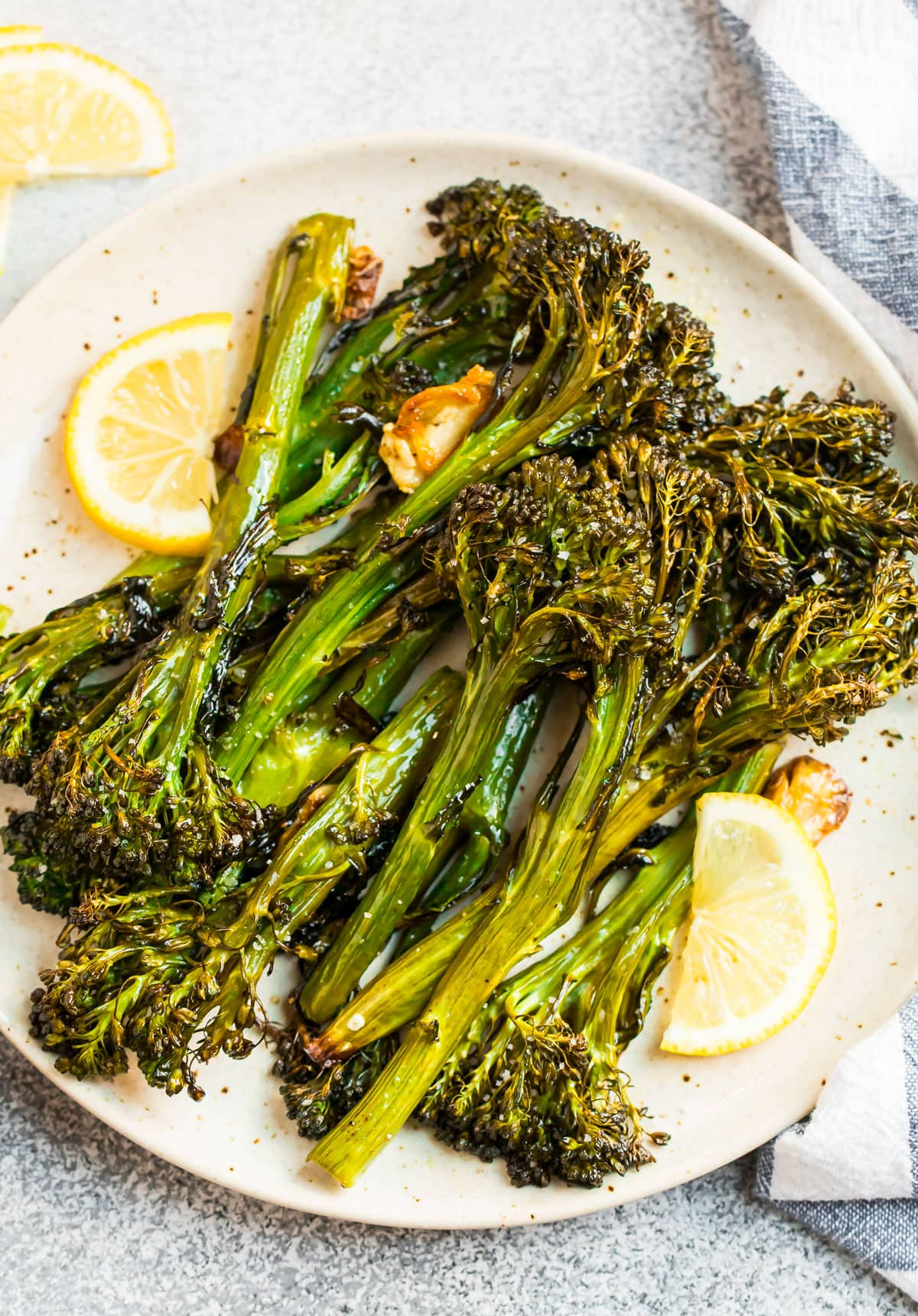 Healthy roasted broccolini on a plate