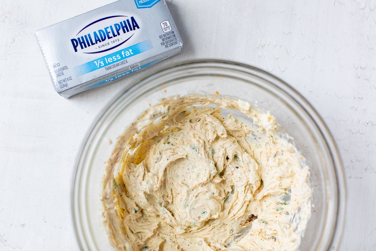 Cream cheese mixture in a bowl