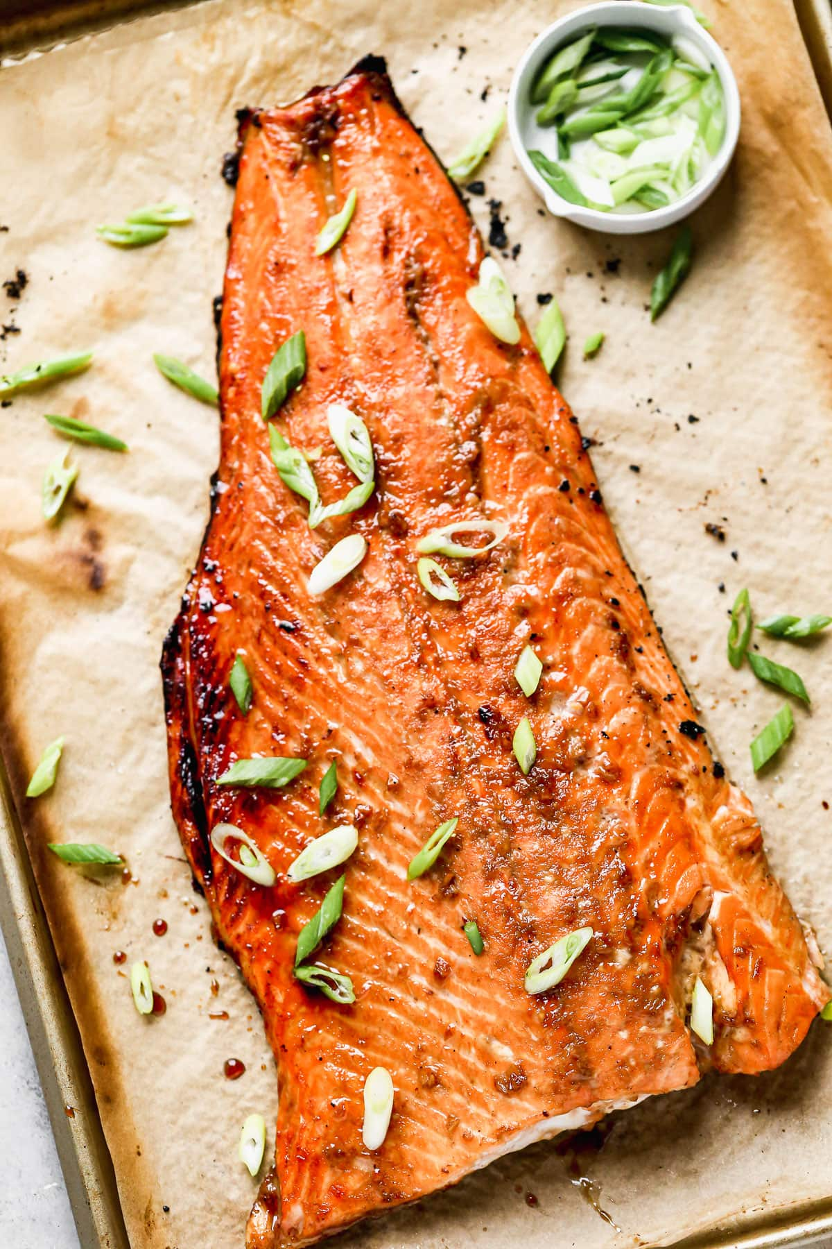 Healthy bourbon glazed salmon with green onions