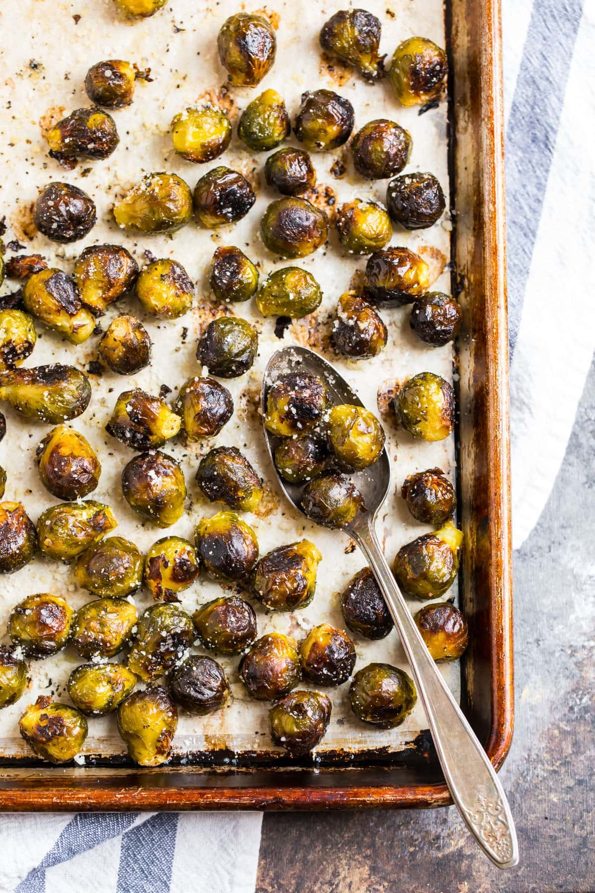 A sheet pan of brown and crispy roasted frozen brussels sprouts