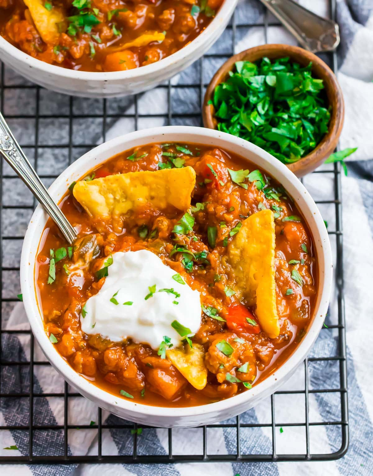 Pumpkin chili in a bowl with chips
