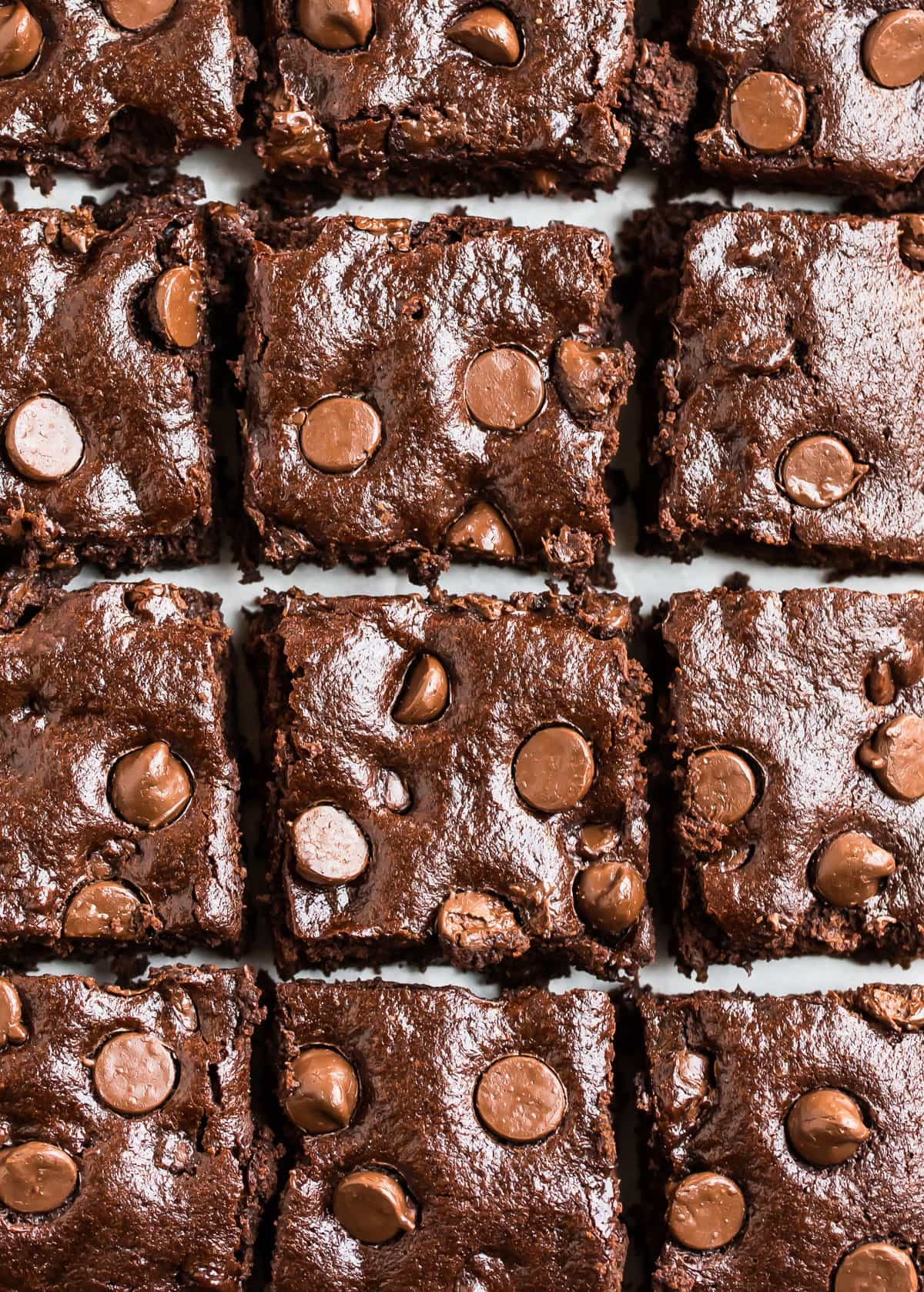 Chewy and moist chocolate vegan brownies with chocolate chips