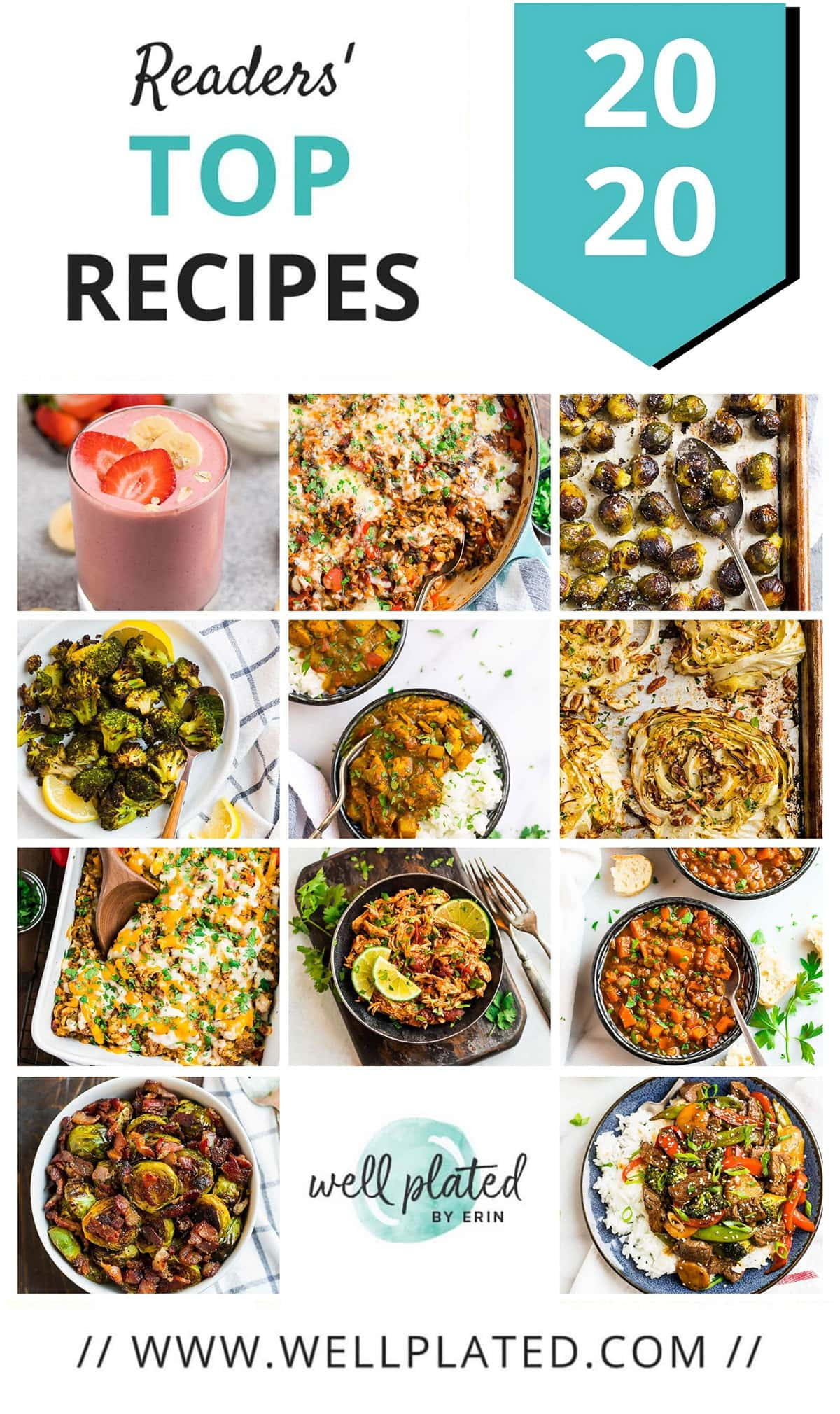 A collage of the most popular healthy recipes of 2020