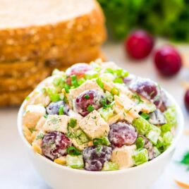 Skinny Greek Yogurt Chicken Salad with Grapes, Celery, and Fresh Dill. Creamy, cool, and crunchy! A quick, easy, healthy recipe that's perfect for sandwiches and salads. Omit honey for the 21 Day Fix diet - Recipe at wellplated.com | @wellplated