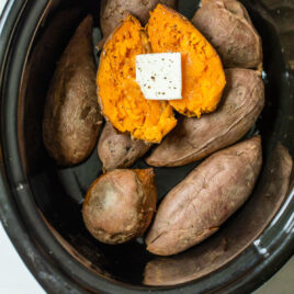 Vegetables with butter in a slow cooker