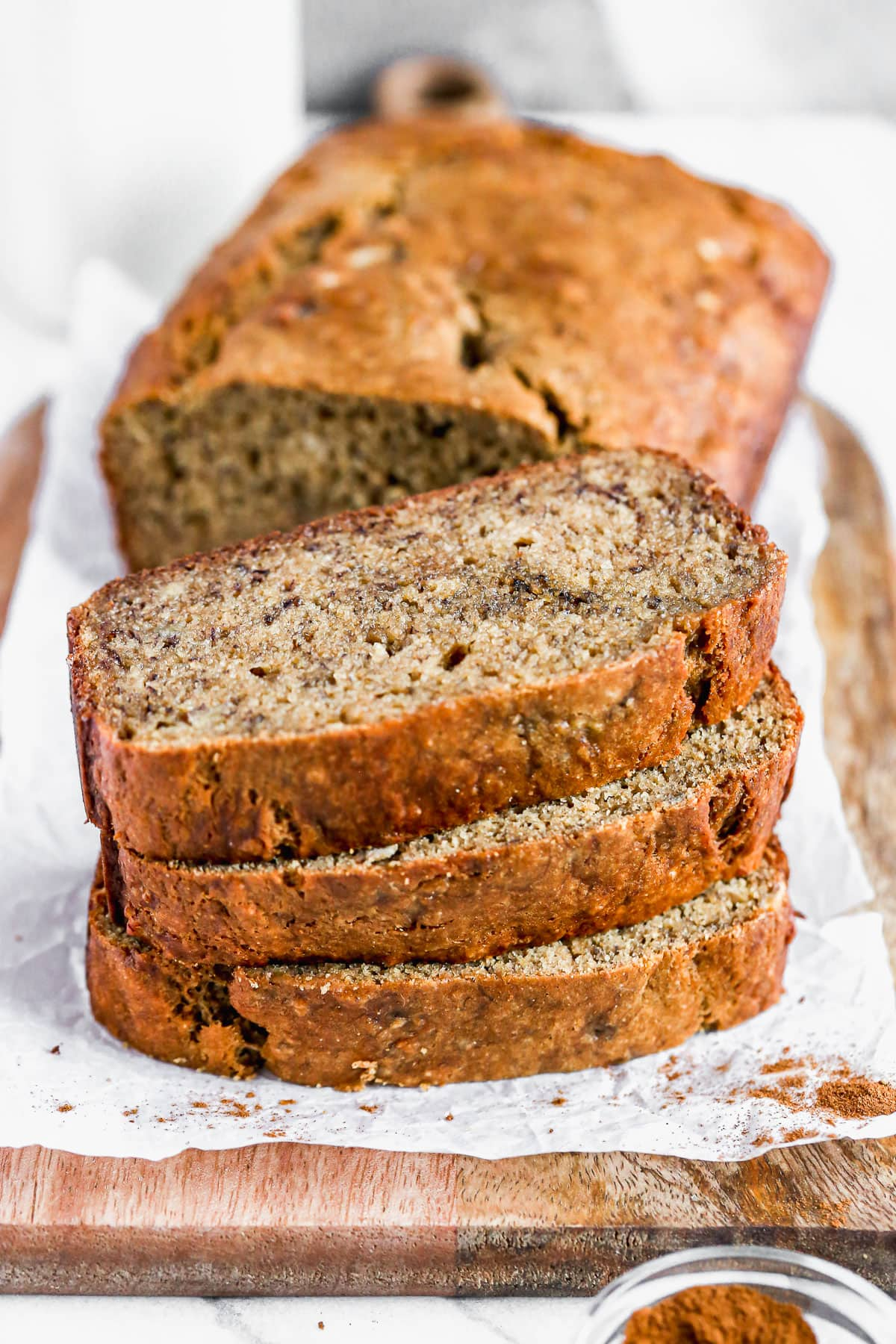 Healthy banana bread with whole wheat flour