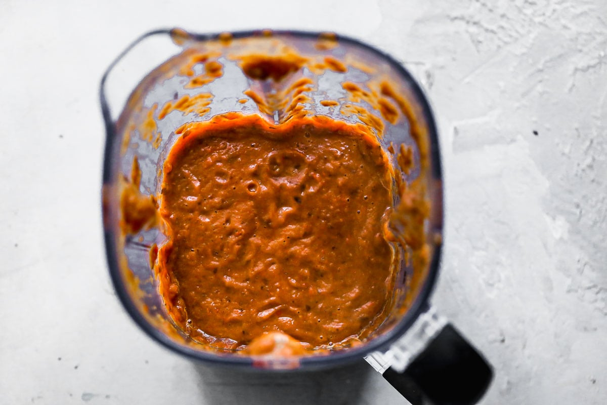 Pureed beans in a blender