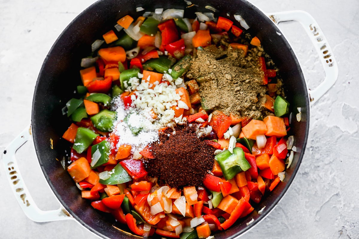 Vegetables and spices in a pot