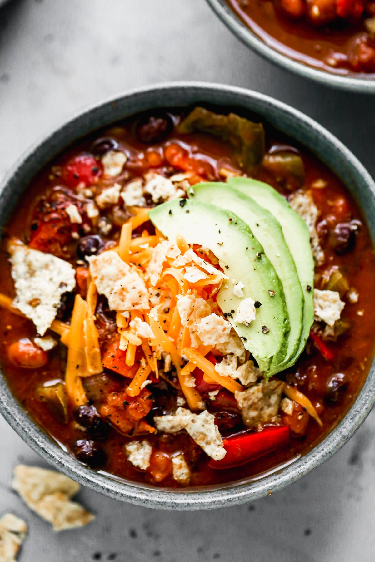 A bowl of hearty vegetarian chili